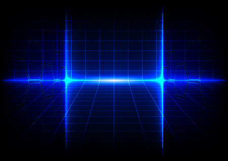 Abstract blue technology concept background with bright flare