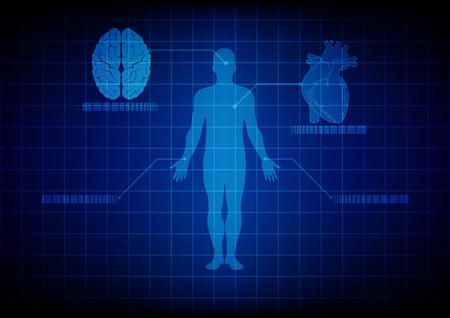 corpo umano: astratto tecnologia corpo medico. progettazione illustrazione.