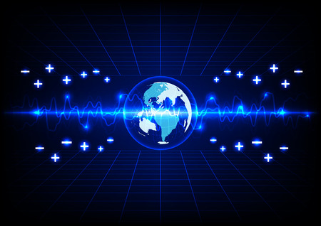 lighting background: abstract blue lighting and globe energy  technology background. Illustration
