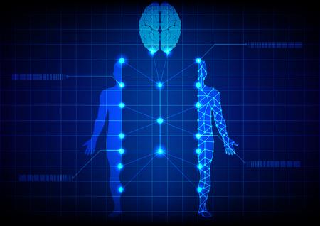 Abstract medisch lichaam en hersentegnologie. Illustratie ontwerp.