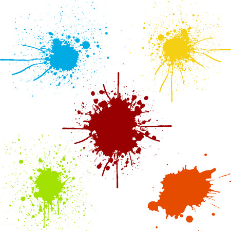 splatter pack Collection of paint color. Vettoriali