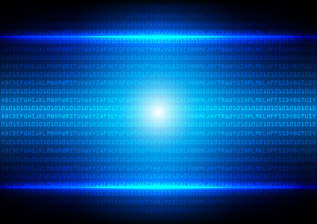 abstract  binary code blue technology background Illustration