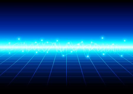 abstract blauw licht met grid-technologie achtergrond. vectorillustratieontwerp