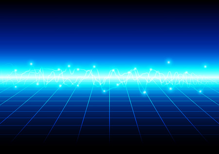 perspective grid: abstract blue light with grid technology background. vector illustration design