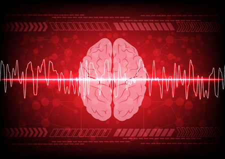 brain illustration: Abstract brain wave concept on blue background technology. illustration vector design