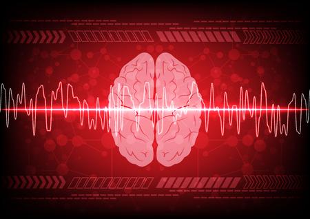 concepto abstracto de las ondas cerebrales en la tecnología de fondo azul. diseño de ilustración vectorial Ilustración de vector
