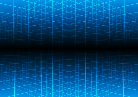 perspective grid: Vector blue grid light technology vector background. illustration vector design