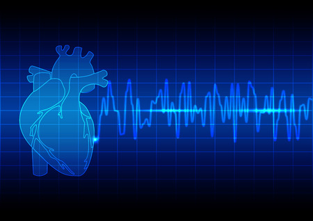 Vector Illustration heart rhythm ekg on blue background technology