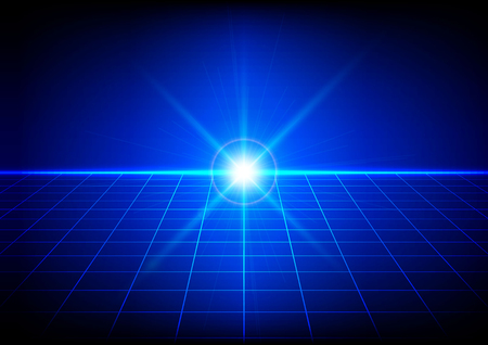 the light rays: Abstract bright flare with grid perspective on blue background. Vector illustration.