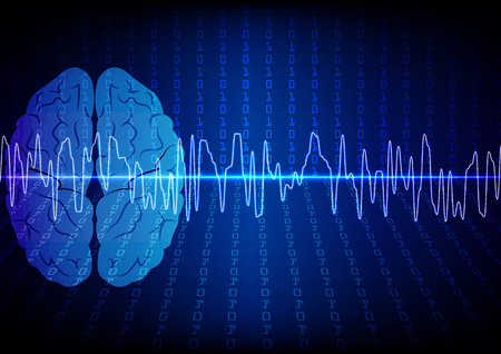 Vector brain digital technology concept. illustration vector design
