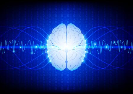 Abstract digital brain technology concept. illustration vector design Illustration
