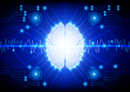 electric circuit: Abstract electric circuit digital brain technology concept