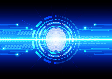 electrify: abstract technology communication with brain technology. illustration vector design
