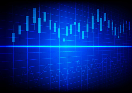 Business chart with line graph and Candlesticks on dark blue background. Ilustração
