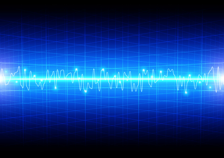 meshwork: Abstract light wave concept with grid on blue background technology Illustration