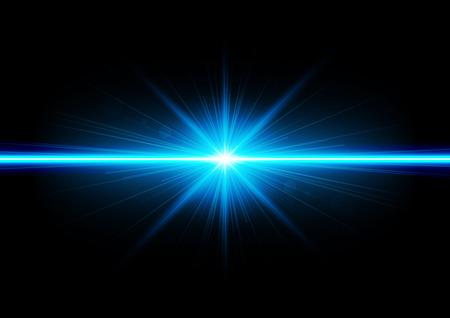Ilustración de fondo abstracto con los rayos de luz azul neón mágica borrosa