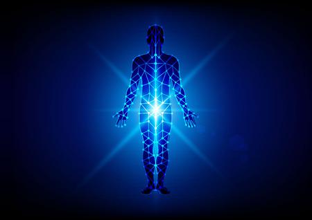 파란색 배경에 메쉬와 추상적 인 몸. 그림 디자인