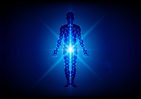 human abstract: Abstract body with mesh on blue  background. illustration design