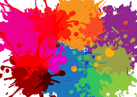Colorful paint splatters.Paint splashes set. Illustration.