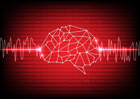 Abstract digital brain technology concept. illustration vector design Vettoriali
