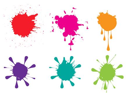 Colorful paint splatters  set Vector illustration Illustration
