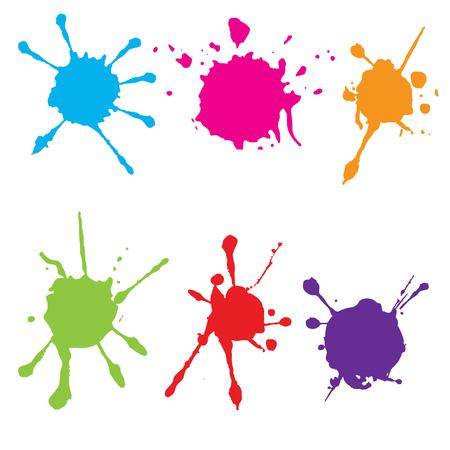 Splatter color paint. Paint splash set.Vector illustration.