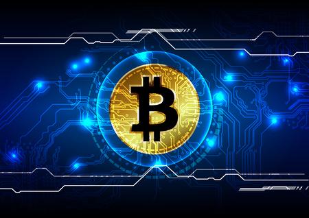 抽象的な bitcoin デジタル通貨背景、未来的な電子マネー、ベクトル イラスト デザイン  イラスト・ベクター素材