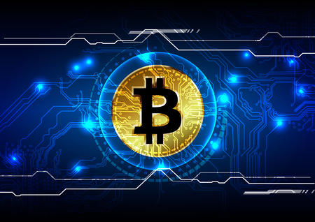 Abstract bitcoin digital currency background, futuristic digital money, vector illustration design