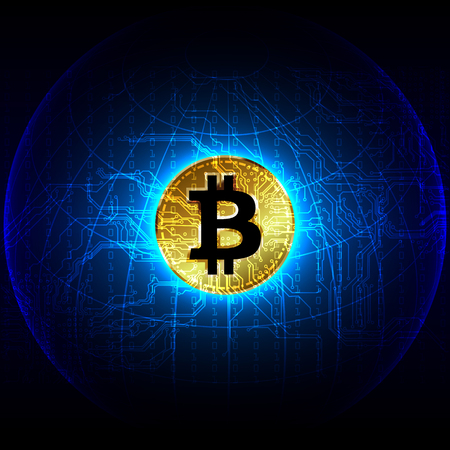 bitcoin digitale valuta futuristische digitale geld technologie wereldwijd netwerk concept. vector illustratie ontwerp Stock Illustratie