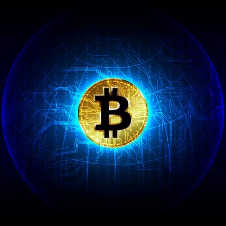 bitcoin digital currency  futuristic digital money technology worldwide network concept. vector illustration design