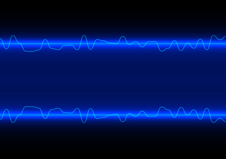 radio beams: abstract vector line wave on blue technology background Illustration