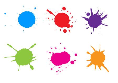 Vector Colorful paint splatter. Paint splash set. Vector illustration.