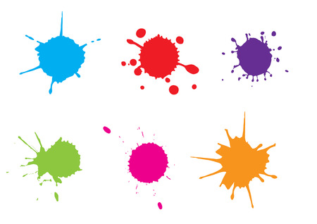 Color paint splatter splash set.