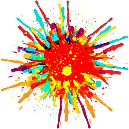 Verf kleur splash achtergrond ontwerp illustratie. Stock Illustratie