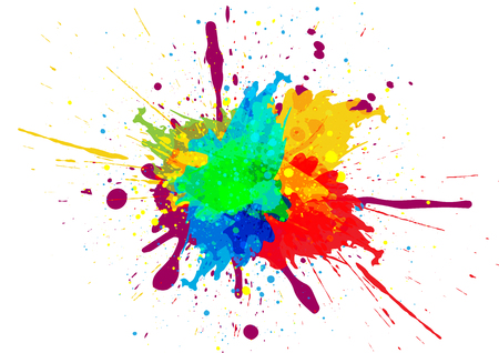Colorful paint splatter design Çizim