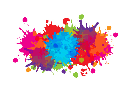 abstract splatter color background design. illustration vector design Stock Illustratie