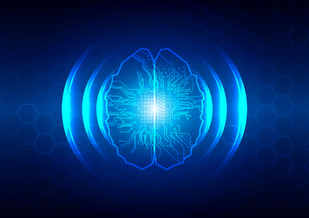 abstract brain and circuit with hex background  technology concept. illustration vector design.