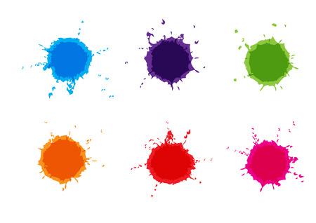 Vector Colorful paint splatters.Paint splashes set.Vector illustration. Иллюстрация