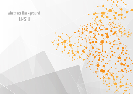 Abstract geometric white and polygon on gray color background, vector illustration design. Иллюстрация