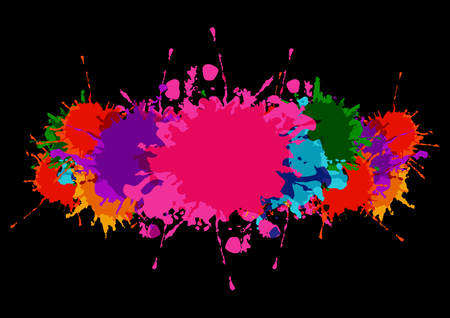 abstract vector splatter colorful banner with paint stains and splatter on a black color background