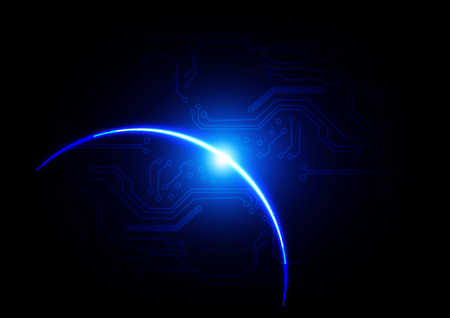 Abstract futuristic blue light with circuit in dark blue color background. illustration vector design