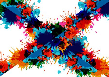 Abstract vector cross splatter color on white  background design. illustration vector design.