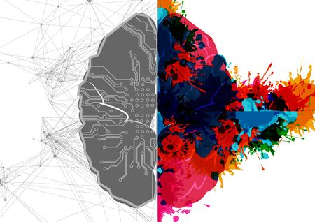 Abstract vector Left and right human brain with . Creative half and logic half of human mind. Vector illustration design