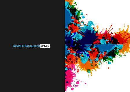 Abstract splatter color and black color background. illustration vector design background.