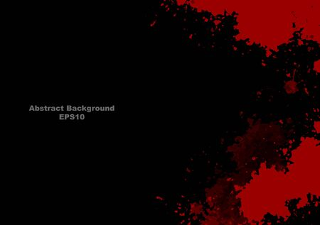 abstract vector splatter red color on black color design background. illustration vector design.