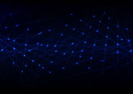 Abstract futuristic Molecules technology with linear and polygonal pattern shapes on dark blue background. Illustration Vector design digital technology concept