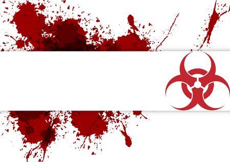 abstract vector biohazard symbol with splatter red background, vector virus disease, virus infections prevention methods background,illustration vector design Vettoriali