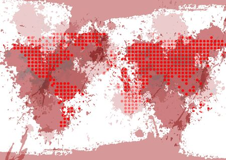 abstract vector map dot with splatter red background,illustration vector design background Vettoriali
