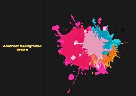 abstract splatter color desing on black color background. illustration vector design Illustration