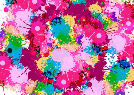 abstract vector multi splatter color design background. illustration vector design